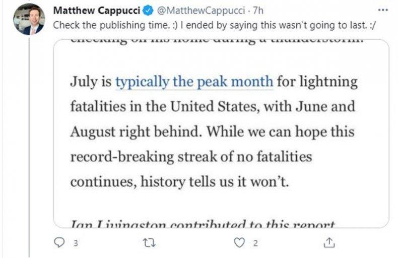 Screengrab of @MatthewCappucci tweet
