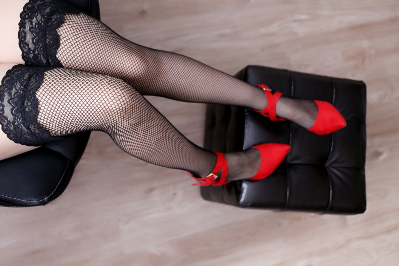 Woman wearing stocking and heels