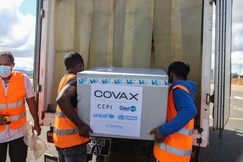 Workers Load Vaccines COVAX Madagascar