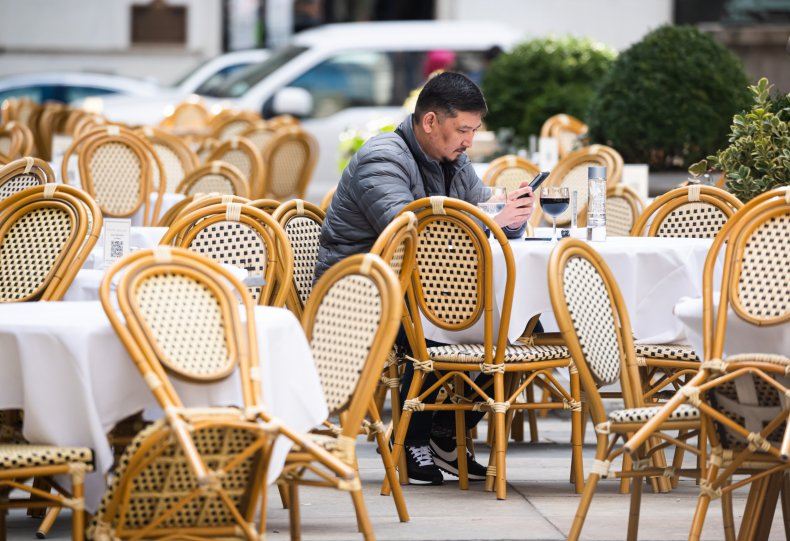 Man Dines Alone in New York City