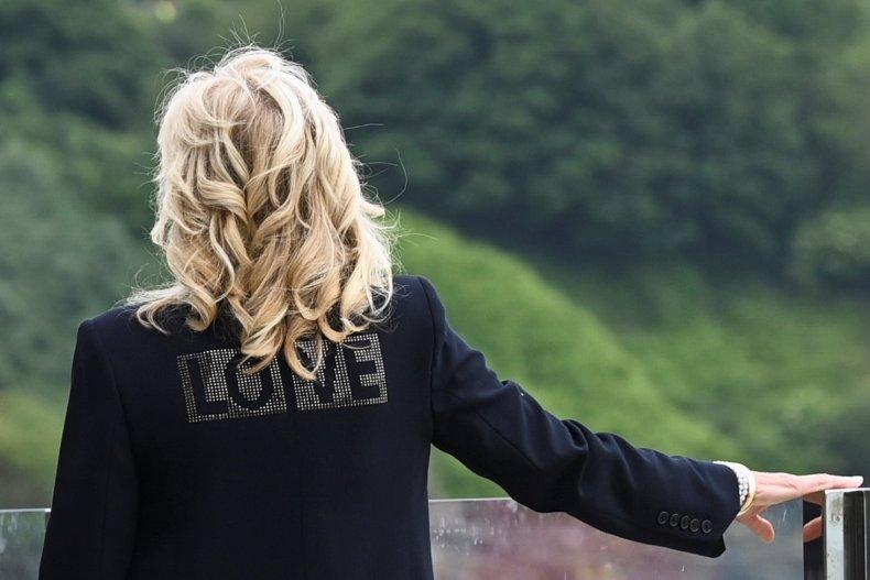 Jill Biden love jacket in Cornwall