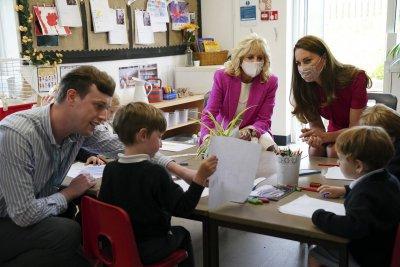 Jill Biden and Kate Middleton meet children