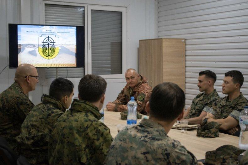 US, and, Ukraine, marines, meet, before, training