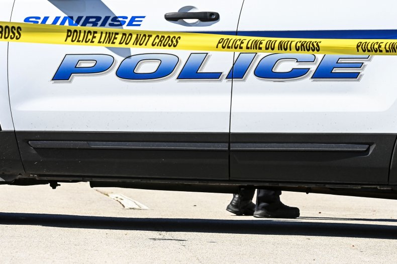 Police Block a Street in Sunrise, Florida