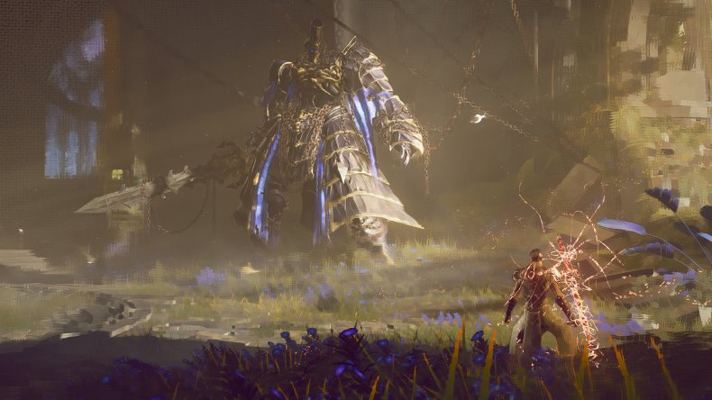 A Player Prepares to Fight a Giant