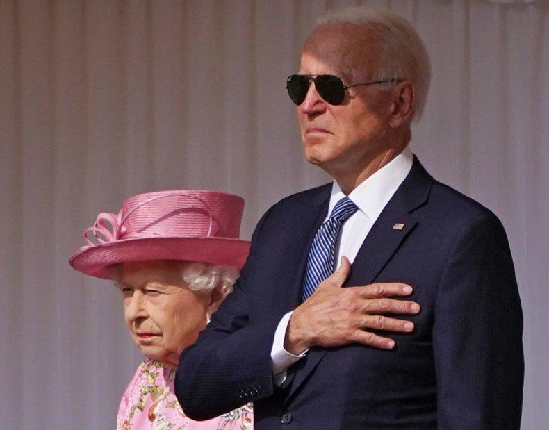 Joe Biden in Sunglasses at Queen Meeting