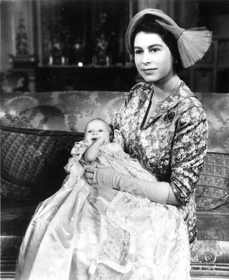 Queen Elizabeth Holds Baby Princess Anne