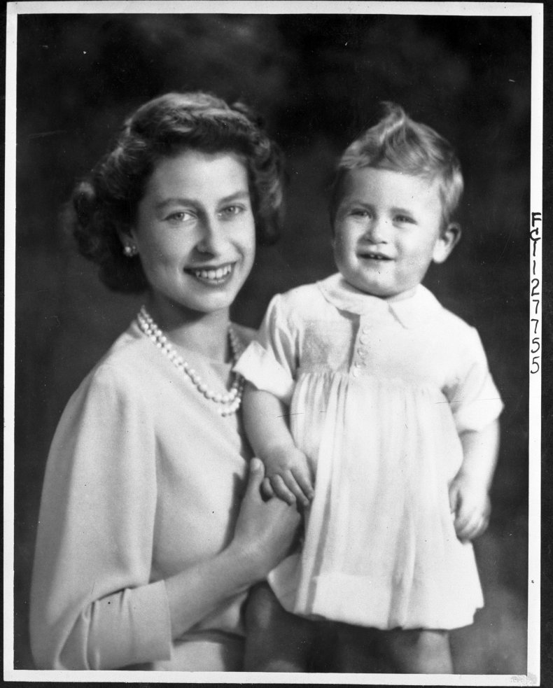 Queen Elizabeth II and Baby Prince Charles