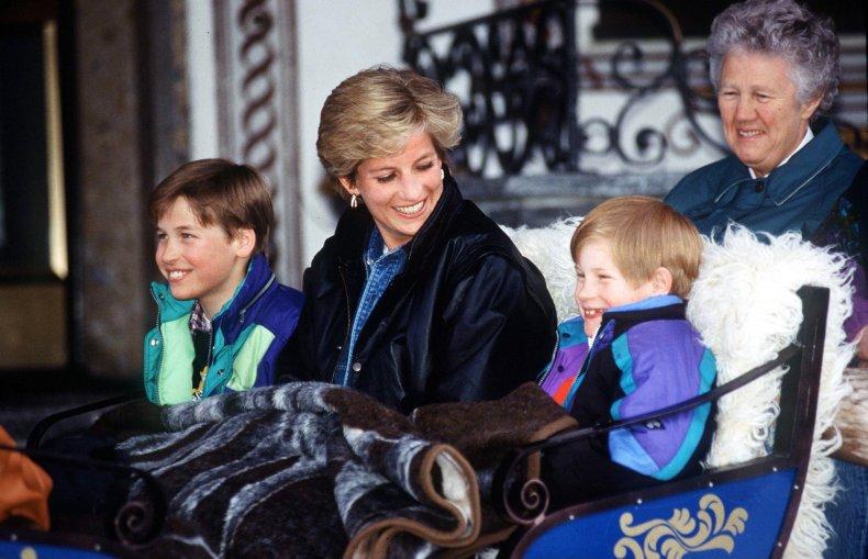 Princess Diana with Prince William, Prince Harry
