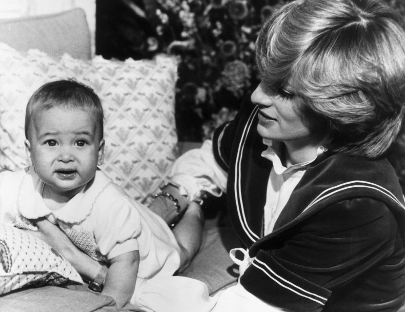 Baby Prince William with Princess Diana