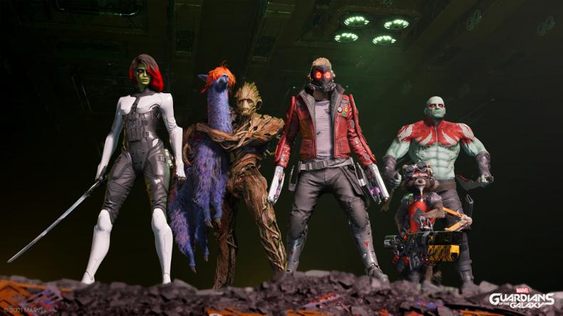 L'équipe des Gardiens de la Galaxie pose