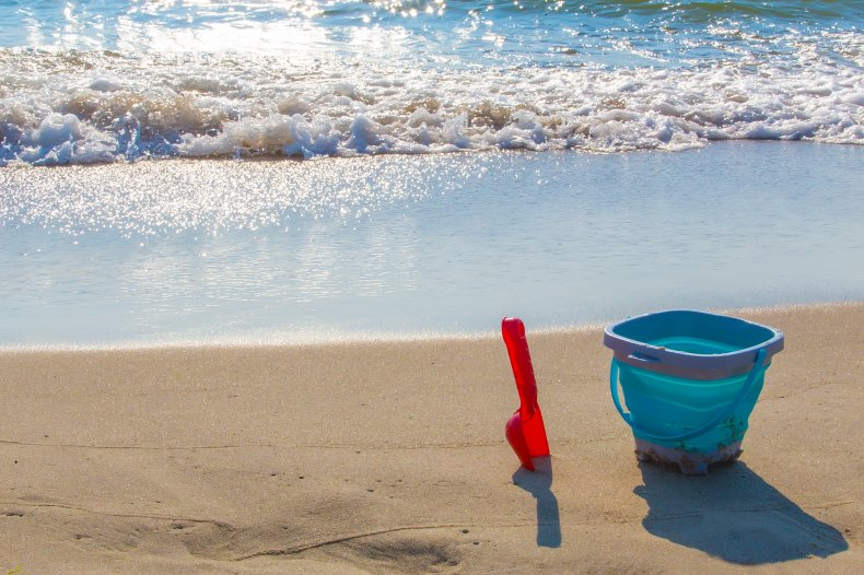 Bucket and space on the beach