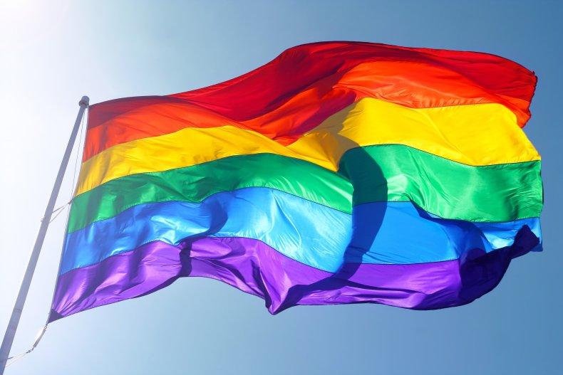 Pride flag waving in the wind