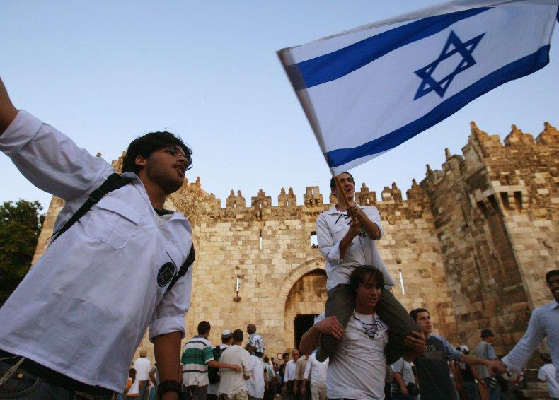 Israeli Flags During Parade in Jerusalem