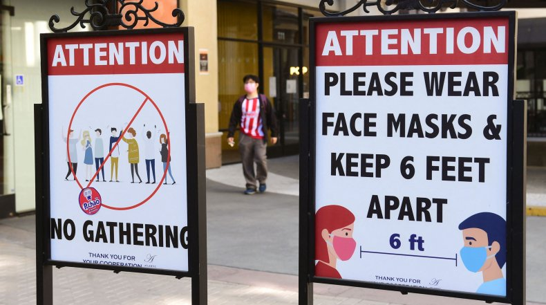 Mask and social distancing signs in California.