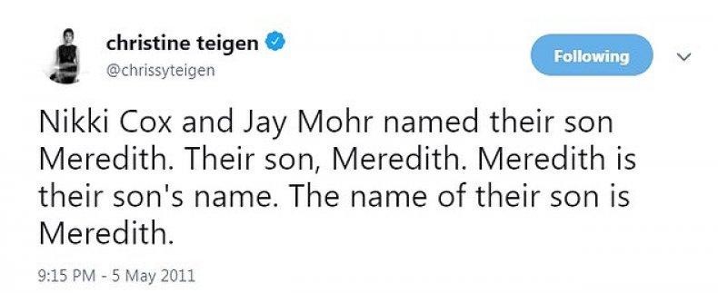 Chrissy Teigen tweets about Jay Mohr