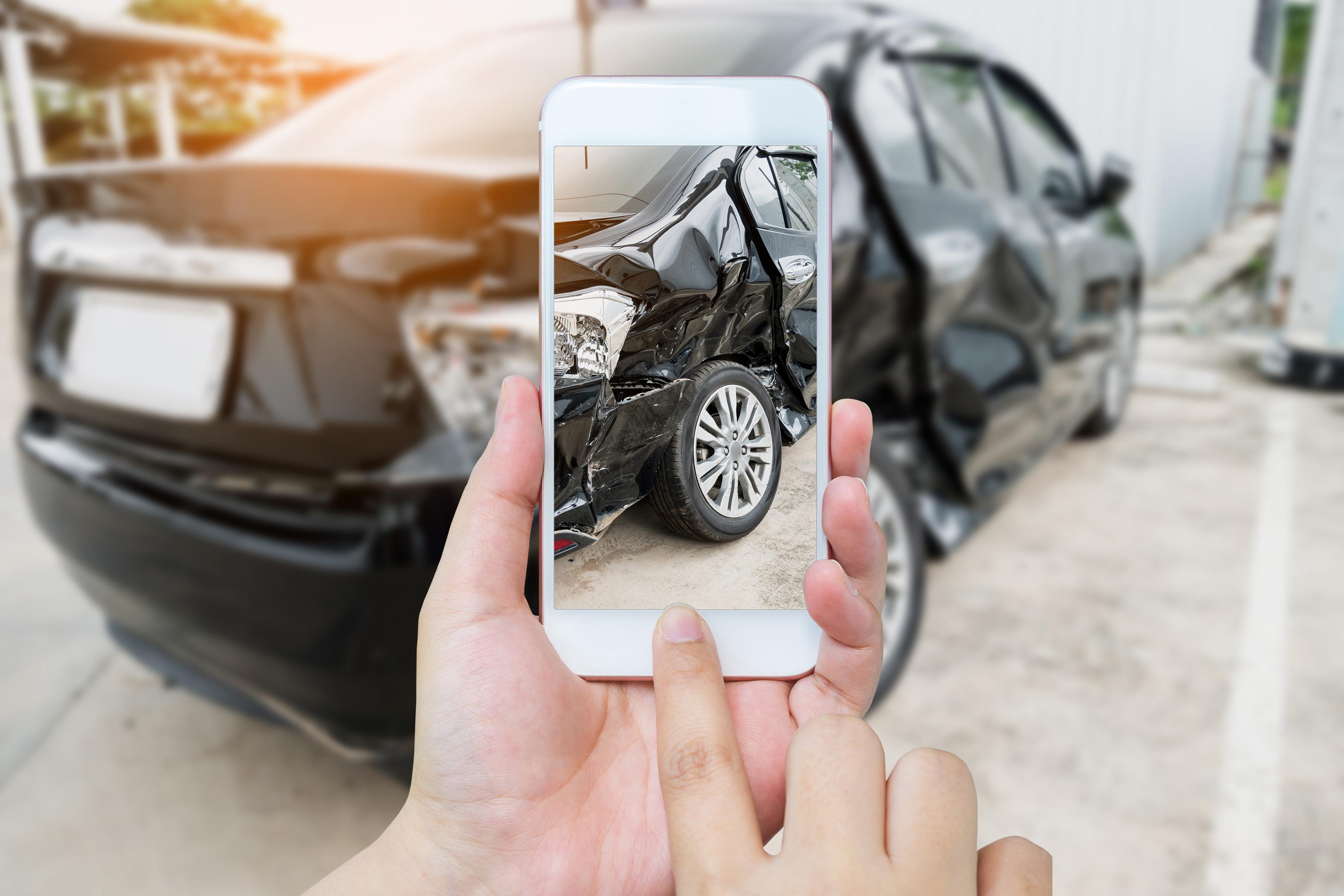 car accident photo smartphone