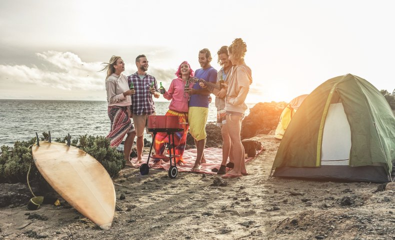 Stock image of friends at the beach.