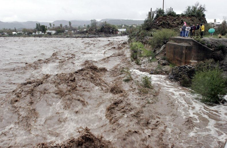A river flooding in Arizona in 2004.