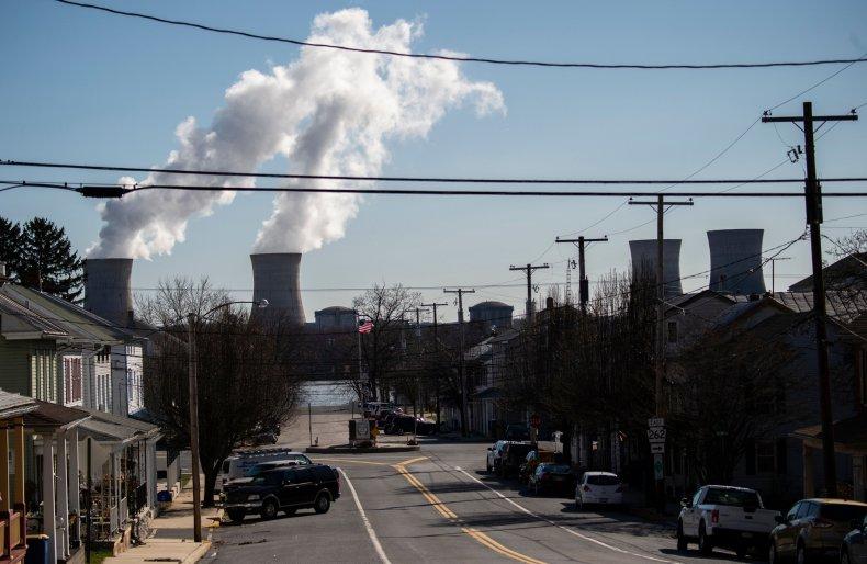 Power lines seen over a Pennsylvania town.