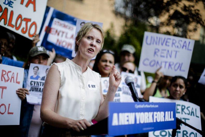 Cynthia Nixon campaigning in New York