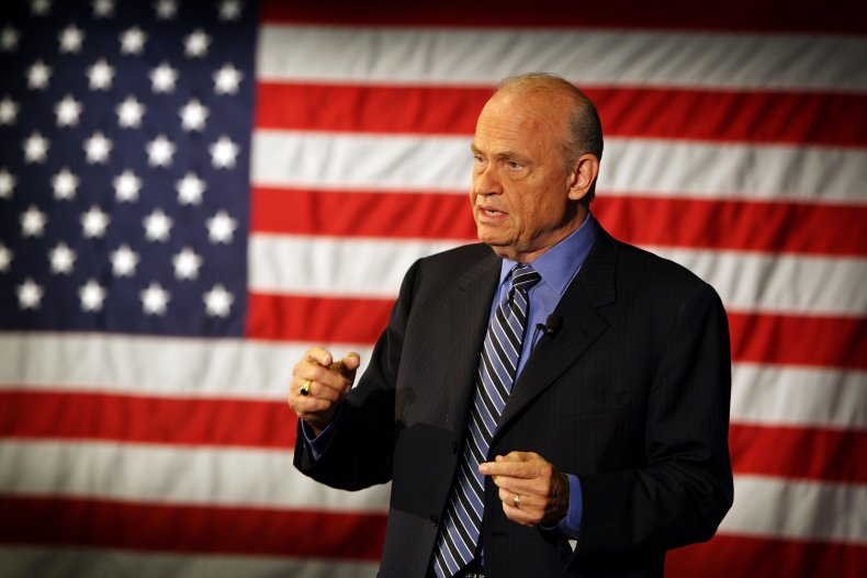 Fred Thompson in front of US flag