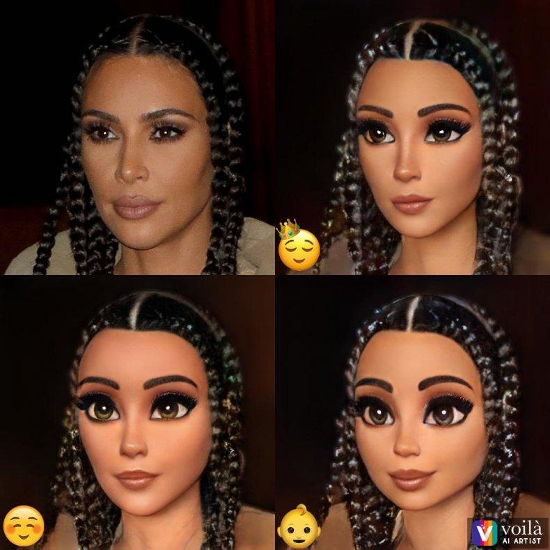 Kim Kardashian using Voila AI Artist app