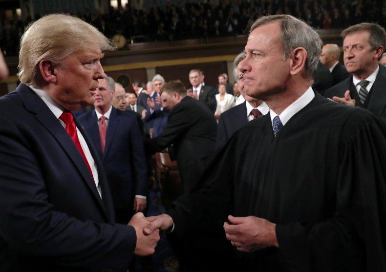 Justice John Roberts and Donald Trump
