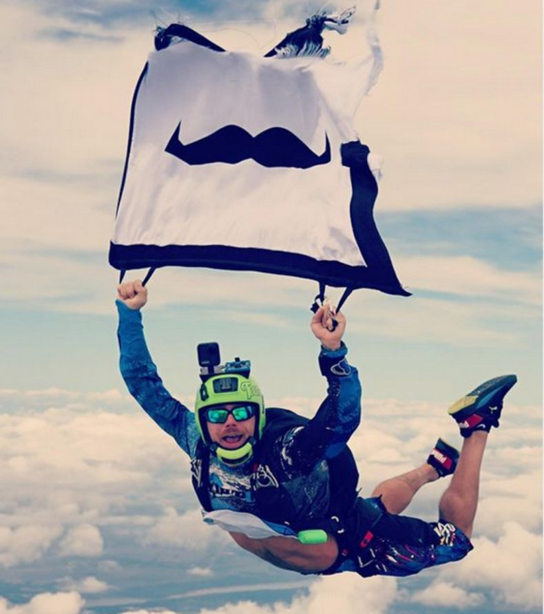 Rian Kanouff skydives for suicide prevention.
