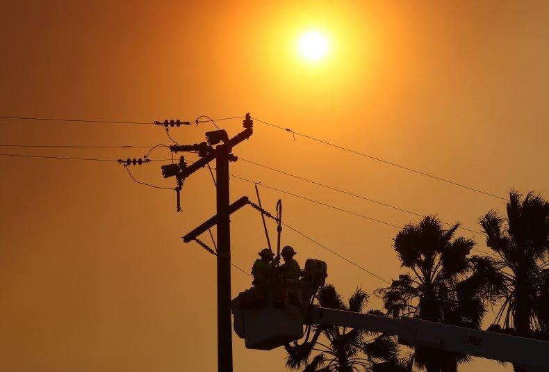 Power lines seen near Irvine, California.