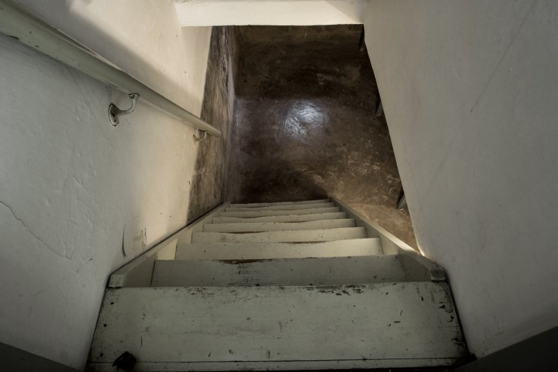 Stock of stairs leading to a basement.