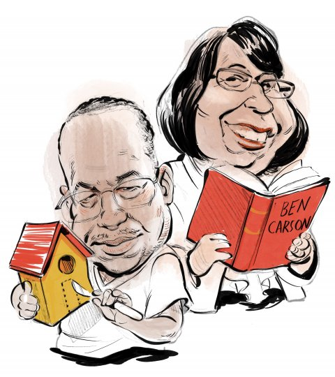 Ben and Candy Carson caricature