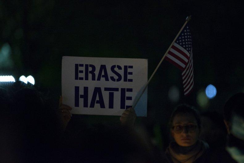 'Erase Hate' Sign Havdalah Vigil