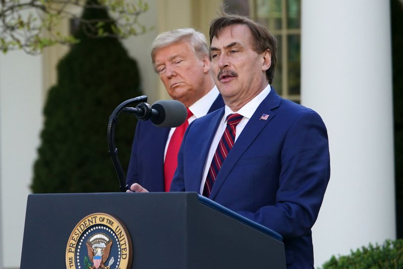 Mike Lindell announces mask plan alongside Trump