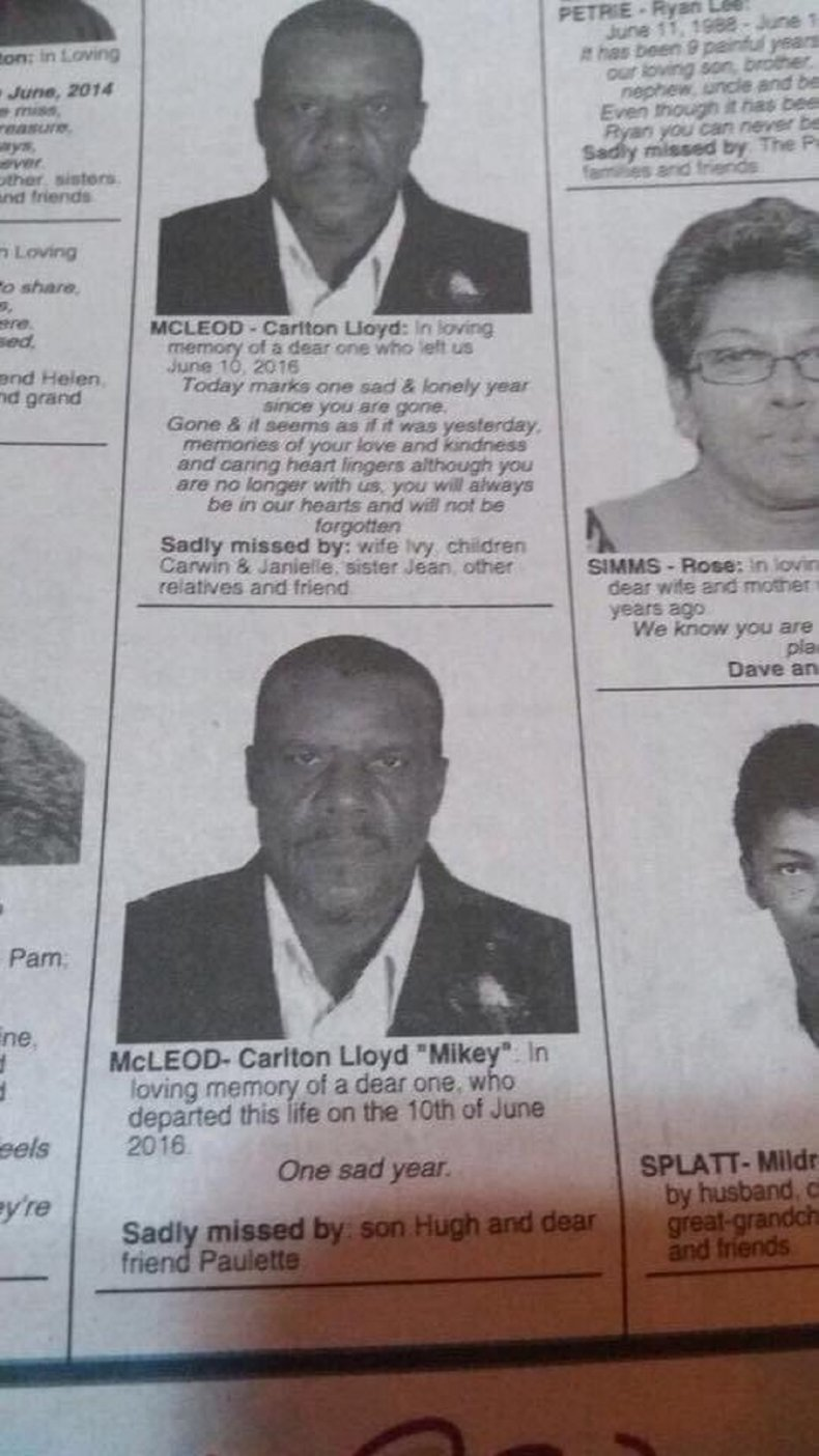 Photo of the obituary in the newspaper,