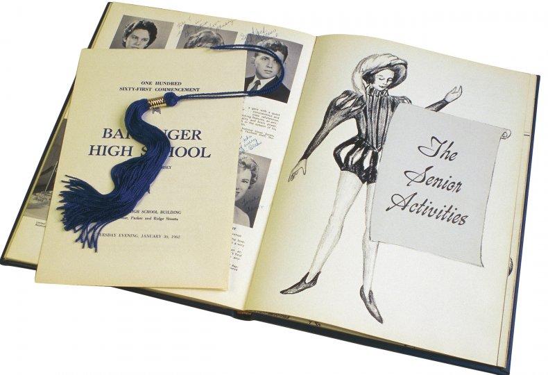 Stock photo of a retro yearbook.