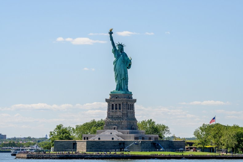 A view of the Statue of Liberty