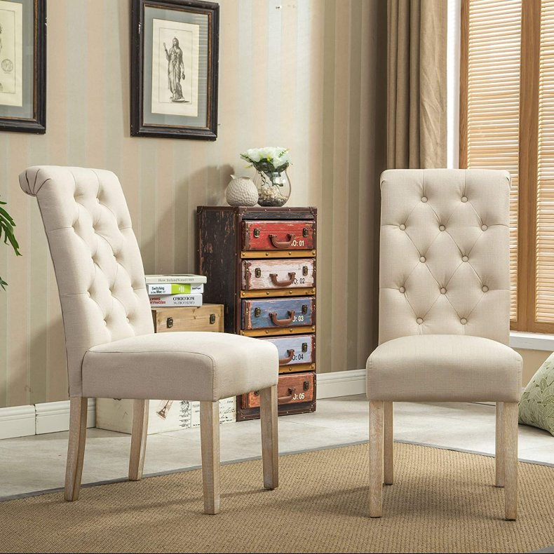 Roundhill Furniture Habit Solid Wood Tufted Parsons