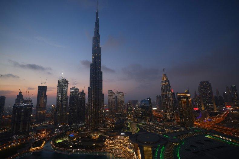 The skyline of Dubai and the high