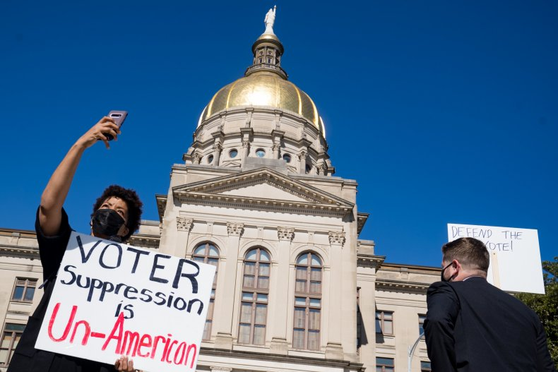 Demonstrators Protest Georgia's Election Integrity Act 2021
