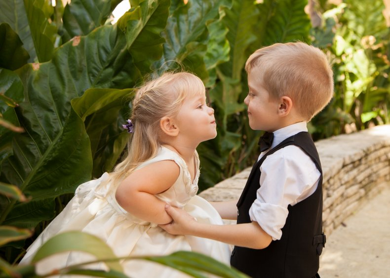 Young children looking at each other