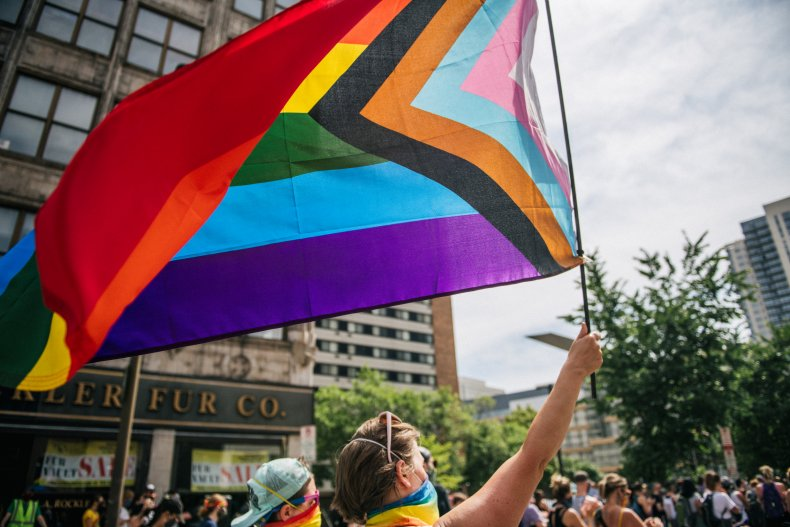 Flag during Pride march