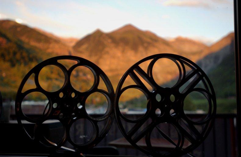 Film Reels Against a Window