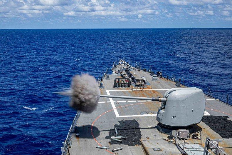 U.S. Navy Destroyer In Live Fire Drills