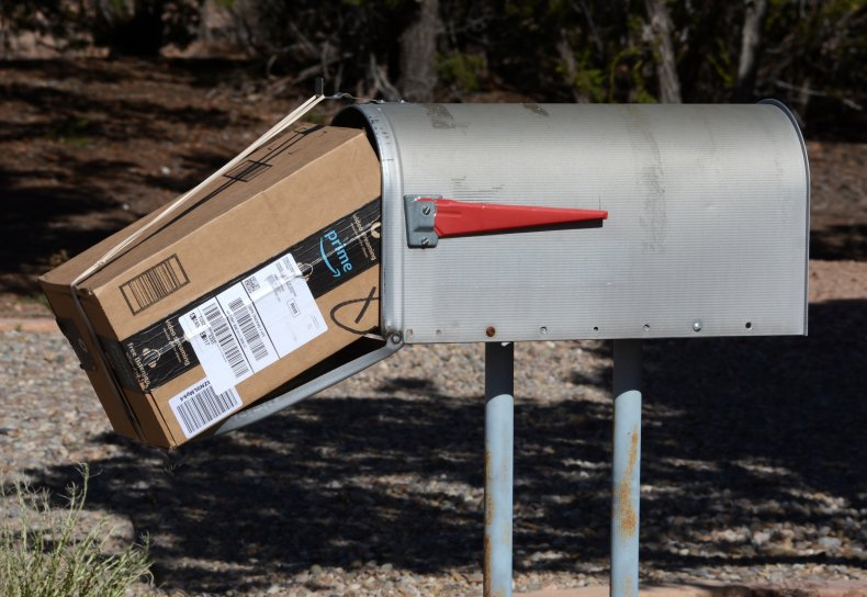 Amazon Prime package delivered to a mailbox.