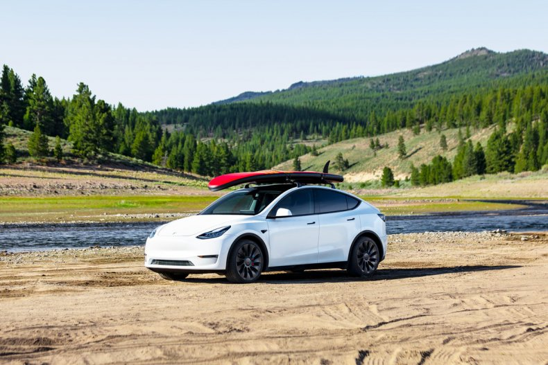 Tesla Model Y with roof rack