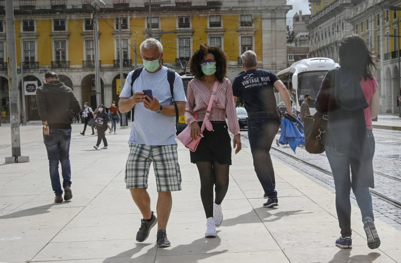 Tourists Wearing Masks in Portugal