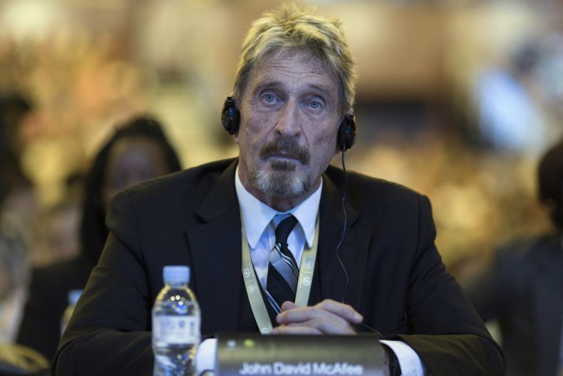 John McAfee Listens During Internet Security Conference