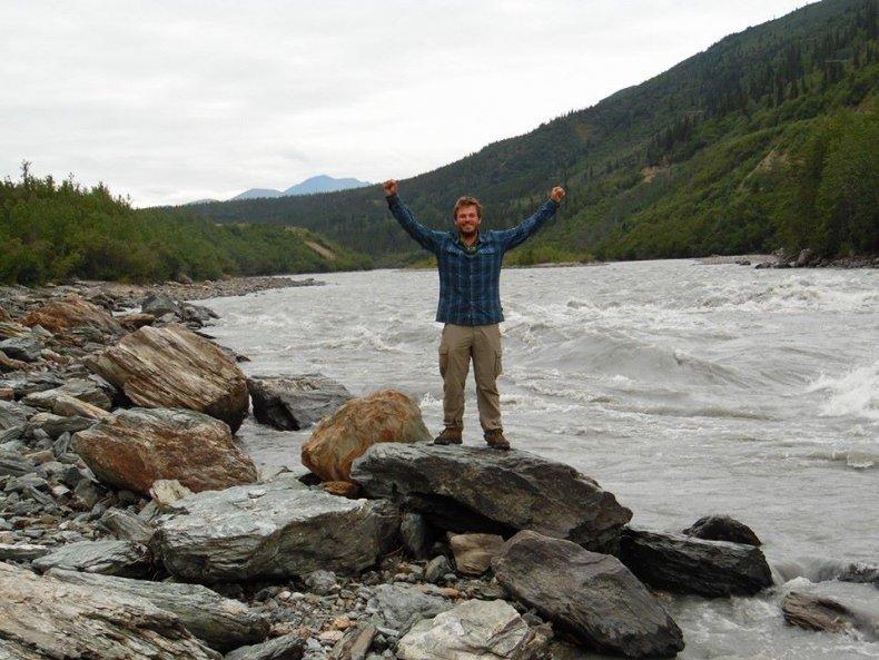 Jake Sansing by a stream