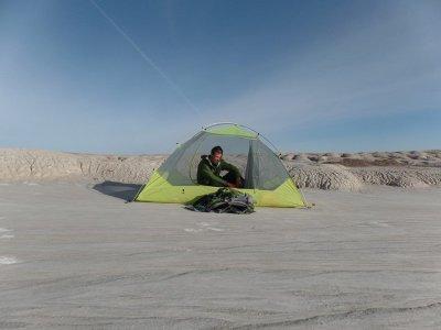 Jake Sansing by tent